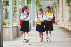 Happy children girlfriend schoolgirl student elementary school Stock Photography