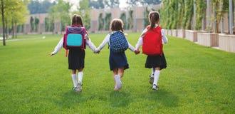 Happy children girlfriend schoolgirl student elementary school Royalty Free Stock Image