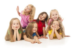 Happy children. Group of happy children isolated on white Royalty Free Stock Photos