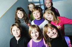 Happy children group in school Stock Photos