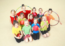 Happy children in gym Royalty Free Stock Photography
