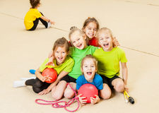 Happy children in gym Royalty Free Stock Image