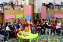 Happy children on Halloween. Children celebrating Halloween at kindergarten in Bucharest,Romania royalty free stock photos