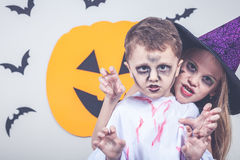 Happy children on Halloween party Stock Photos