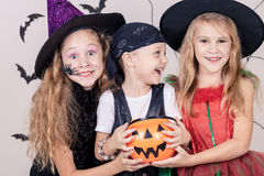 Happy children on Halloween party Royalty Free Stock Images