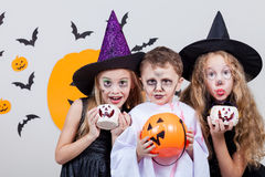 Happy children on Halloween party Stock Photography