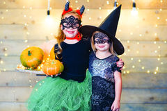 Happy children during Halloween party Royalty Free Stock Photos