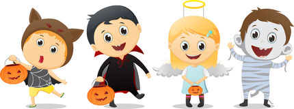 Happy children in Halloween party trick or treating Royalty Free Stock Photo