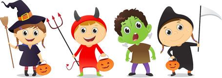 Happy children in Halloween party trick or treating Stock Images