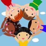 Happy children hand in hand around. Illustration Stock Photo