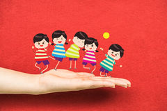 Happy Children on the hand Stock Photography
