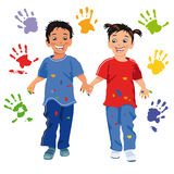 Happy children and hand prints Royalty Free Stock Images
