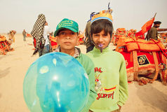 Happy children having fun on desert carnival during the Desert Festival  in India Stock Photography