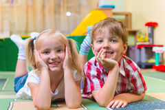 Happy children having fun at home Stock Image