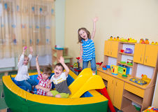 Happy children having fun at home Stock Photo
