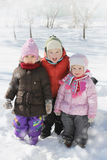 Happy children having fun in winter Royalty Free Stock Image