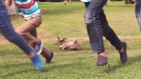 Happy children having a sprint stock footage