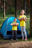 Happy children hiking in the forest Stock Photography