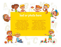 Happy children holding blank poster. Template for advertising brochure Royalty Free Stock Photo