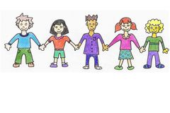 Happy CHildren holding hands. Five colorful children holding hands and smileing. Author: HOlly Doucette 2005 Royalty Free Stock Images