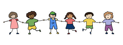 Happy children holding for hands Stock Photo