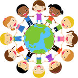 Happy children holding hands around the globe. Illustration of happy children holding hands around the globe Royalty Free Stock Photos