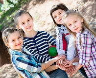 Happy  children holding hands and giving friendship. Swear Stock Photos