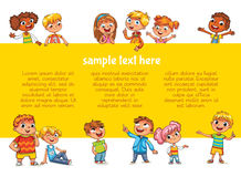 Happy children holding poster. Ready for your message Stock Photo