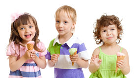 Happy children with ice cream in studio isolated. On white royalty free stock photos