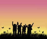 Happy Children In The Field Royalty Free Stock Photo