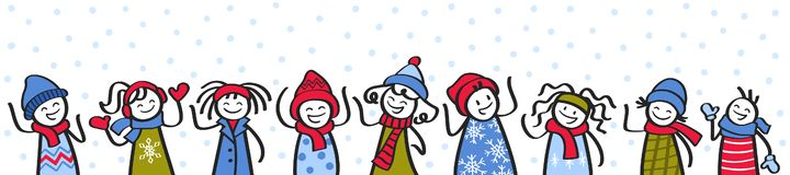Free Happy Children In The Snow, Stick Figures In Winter Clothing, Banner Stock Photography - 160729242