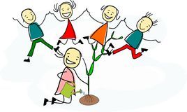 Happy children are jumping in the air. While a girl is planting a tree Stock Illustration
