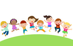 Happy children jumping in the air Stock Photos