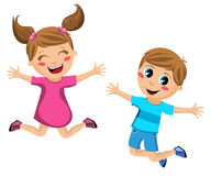 Happy Children Jumping At Once Stock Photo