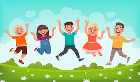 Happy children are jumping. Concept of carefree childhood and joy. Vector illustration i. N cartoon style Stock Photography