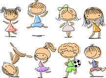 Happy children jumping, playing, running, vector Stock Image