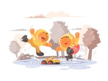 Happy children jumping in puddle. Under rain. Vector flat illustration Royalty Free Stock Image
