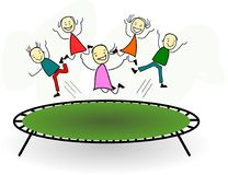 Happy children are jumping on a trampoline. And having fun Royalty Free Illustration