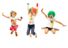 Happy children jumping Stock Images
