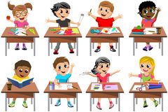 Happy Children Kid Desk School Classroom Isolated. Happy kids or children sitting at desk school playing or drawing isolated on white background royalty free illustration