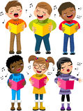 Happy Children Kid Singing Winter Choir Book Isolated Stock Images