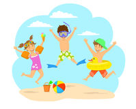 Happy children, kids jumping for joy on the beach. Background vector illustration