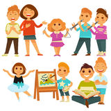 Happy children kindergarten playing activity vector flat icons set Royalty Free Stock Images