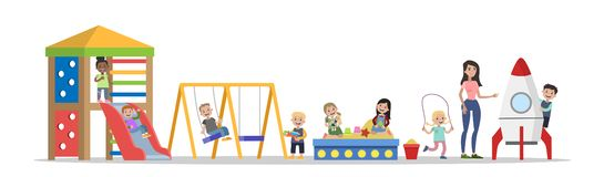 Happy children in the kindergarten playing outdoors royalty free illustration