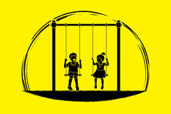 Happy Children, Little boy and girl are playing swing together Royalty Free Stock Photos