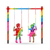 Happy Children, Little boy and girl are playing swing together Stock Photos