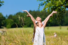Happy children in a meadow Royalty Free Stock Image