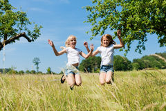 Happy children in a meadow Stock Images