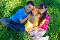Happy children in a meadow Royalty Free Stock Photography