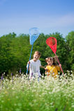 Happy children on meadow Royalty Free Stock Photos